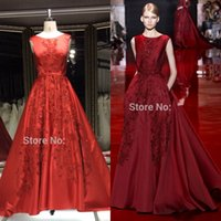 Cheap 2015 Wine Red Free Shipping Real Sample Cap Sleeve Lace Appliqued Crystal Open Back Elie Saab For Sale Evening Dress high quality Custom