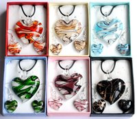 Wholesale New Lampwork Glass Enamel Heart Pendant Mix Color Necklace Earring Set Leather Chain With Gift Box