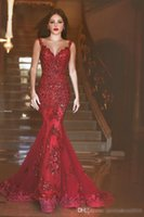 Wholesale 2016 New Burgundy Illusion Back Mermaid Prom Dresses Red Arabic Long Prom Gowns Sequins Sweetheart Lace Applique Formal Evening Gowns