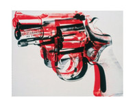 andy warhol arts - Gun black and red on white oil painting reproduction of Andy Warhol Painting Canvas High quality Abstract art Hand painted