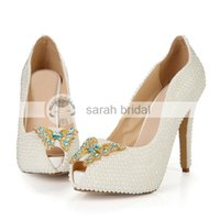 Wholesale Crystal Pearl Ivory Stiletto Pumps Heel Wedding Shoes cm High Heel Platform Open Peep Toe Lady Women Bridal Party Wedding Shoes