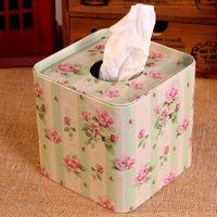 box facial tissue - Flower design Tissue Box Metal square Facial Paper Case Napkin Holder new Fashion Zakka Light color flower