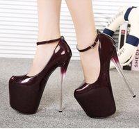 20cm high heels - 2015 fashion woman cm heels summer pumps red wine patent leather pumps size high heels ladies evening shoes
