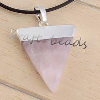 Wholesale Fashion Charm Silver Plate Rose Quartz triangle shape chakra healing pendant Gift