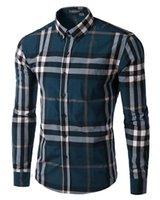 Long Sleeve asian collar shirt - 2017 Asian Size Plaid Shirts For Men Slim Fit Striped Shirt Men Long Sleeve Mens Dress Shirts Camisa Social Masculina