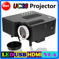 Wholesale Free DHL UC28 UC28 Digital LED Projector Portable Video LCD Projector quot Cinema Theater Pocket Home Game Projector Support AV VGA USB SD
