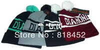 Wholesale Diamond beanie wool winter knitted hat Cuffed Knit Hat with pom beanies caps and hats for man and women