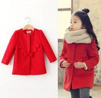 Wholesale korean clothes Girls woolen Long Outwear Children Round Neck Bow Button Coat kids winter clothing winter girls clothing