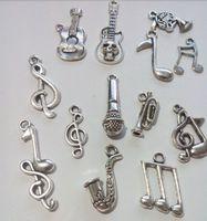 Wholesale Mixed Tibetan Silver Plated Music Guitar Sax Charm Pendant Statement Jewelry Making DIY Handmade Jewellery DIY