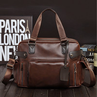 Wholesale 2016 Classical PU Leather Totes Motorcycle Handbag Casual Business Shoulder Messenger Bag Travel Bags Color Brown Fre ship F281