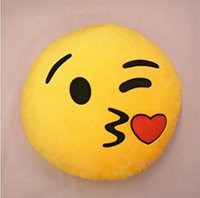 Wholesale Hot Soft Emoji Cute Cushion Lovely Smiley Emoticon Fly kiss Yellow Round Cushion Pillow Stuffed Plush Toy Doll Xmas Present