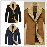 cashmere coats - 2015 New British Style Men Wool Coats Winter Wool Slim Coats Single Breasted Cashmere Blend Turn down Collar Plus Size Warm Trench Coats