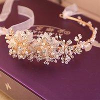 gold tiara - 2015 New Fashion Wedding Bridal Women Silver Gold Flowers Crystal Rhinestone Pearls Beaded Headband Hair Accessories Ribbon Tiara Jewelry