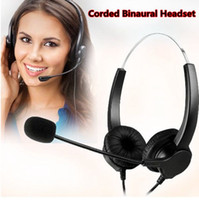Wholesale Hands free Call Center Noise Cancelling Corded Binaural Headset Headphone with Pin RJ9 Crystal Head and Mic Mircrophone for Desk Phone T