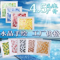 bathroom tile materials - Simple modern crystal glass mosaic tiles hand painted flower puzzle bathroom pool bathroom renovation materials