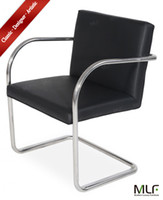 Wholesale MLF Brno Tubular Chair Imported Black Italian Leather Highly Resilient Cushions Premium Polished Stainless steel and Solid Tubular Frame