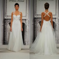 Wholesale 2015 Pnina Tornai New Style White Vestido De Noiva A line Spaghetti Straps Tulle Simple Garden And Beach Wedding Dresses fx376