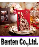 Wholesale Personalized Wedding Invitations Cards Red Color With Hollow Lace Gold Dress Bridal and Groom Laser Cut Party Cards LLFA1104
