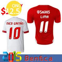 Mejor calidad de Tailandia 2015 2016 Benfica roja Inicio blanco fútbol Jersey ausente NICO GAITAN LIMA JUAN SALVIO LUISAO camiseta de fútbol
