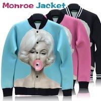 Wholesale New Autumn Winter Women Casual Jacket Marilyn Monroe Print Creative D Print Long Sleeve Pullovers Outwear Coats Jackets Sweater