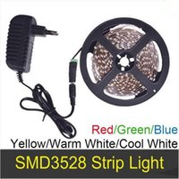 Wholesale NEW LED Strip light SMD3528 meter m Single Color Power Adapter A DC12V Non Waterproof Warm Cool White Red Green Blue Yellow
