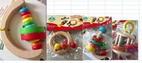 Wholesale Baby Toys Colourful Creative Hand Bell Rattles Wooden Toys Baby Shaking Toys For Children Wooden Toys with L
