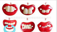 baby shower novelties - Novelty teeth pacifiers Nipples dummies Funny baby shower Pacifier Lipsbaby pacifier silicone pacifi