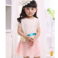 Cheap 2014 Summer toddler girl clothing Children Clothing Girls Sweet Chiffon Flower Belt kids dresses Dress 0215