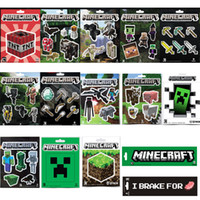 baby creepers - 2016 New arrival Minecraft Stickers Creeper Decorative Stickers Wall Decal Cartoon Wallpaper MC Poster Steve baby pig cow Stickers free ship