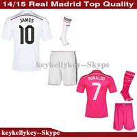 pink jersey - Cheap Real Madrid Soccer jersey kits Ronaldo football jerseys BALE White pink black suit with socks soccer uniforms sets