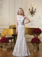Wholesale Justin Alexander Wedding Dresses Fit and Flare Jewel Neckline Sheer Back Court Train Lace Bridal Gowns