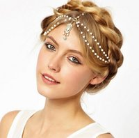 beach auger - 2016 Fashion Set Auger Pearl Tassel Women Hair Accessories Summer Style Ladies Head Hair Bands for Women Beach Bohemian Jewelry Head Chain