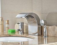 basin shower mixer - Brief Chrome Brass Bathroom Basin Deck Mounted Sink Faucet Waterfall Mixer tap Withe Hand Shower