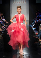 new york dresses - 2015 Ball Gown Sexy Applique Party Dresses Deep V Neck Sleeveless Organza Hi Lo New York Fashion Week Prom Homecoming Gowns With Tiers