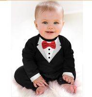 Wholesale 1pcs new spring autumn newborn Boy Baby Formal Suit Tuxedo Romper Pants Jumpsuit Gentleman Clothes for infant baby romper jumpsuits clothes