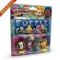 Wholesale Novelty Hot SET Bubble Guppies Cartoon Spring dolls Action Figures Stand up dolls Mini Furnishing articles dolls For Gifts