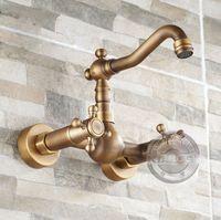 antique bathtubs clawfoot - Bathroom Faucet bathtub Mixer Tap Antique Brass double clawfoot handle Bahttub faucet Wall Mounted bathtub tap GY B