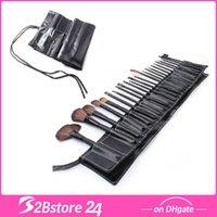 Wholesale Black Make Up Cosmetic Brush Set Kit Makeup Brushes Wood Handle Goat Hair Leather Case