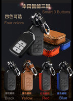 Wholesale High quality cowhide leather car key case covers auto Protecting key cases cover bag for acord vezel