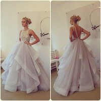 ball gown prom dresses - New Arrival Stunning Ball Gown Prom Dresses Hayley Paige Bateau Neck Beading Ruffles Organza Backless Long Party Dresses