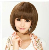Wholesale Modified face wig girls short straight hair fluffy Qi Liu bobo head wig short hair straight hair wig Sassoon