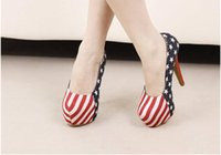 american flag shoes heels - New Upgraded American Flag Dreamy stripe and stars cartoon print sole heel shoes pumps