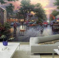 Wholesale Custom any size D wall mural wallpapers for living room Modern fashion City Street oil painting handsome Knight wall paper