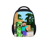 Wholesale Minecraft Backpack Shoolbag Two Straps Shoulder Children Bag Colors School Bags My World Series Creeper backpack m158