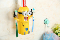 best toothpaste - Christmas gift Cheap Toothbrush Holder Best Toothpaste Dispenser Cute Despicable Me Minions Design Set Cartoon Toothbrush Holder Automatic