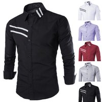 armbands for shirts - New Arrival Spring and autumn hot items for men hit color decorative inlay strip armband European style long sleeved shirt iron men s shirts