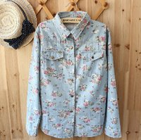gradient denim shirt - 2015 autumn camisa jeans feminina denim vintage floral print blouse women marvel cheap long sleeve gradient jeans shirt blusa