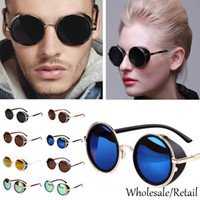 Wholesale Hot Fashion Summer Sunglasses Steampunk Retro Coating Mens Vintage Round Sunglasses Men Cool Women Retro Sun Glasses Framed SV004886