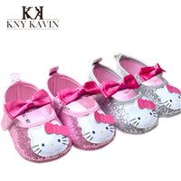 Wholesale Hello Kitty Baby Shoes Year First Walker PU Girls Shoes Princess Bowknot Bling Baby Moccasins Baby Girl Shoes Sneakersret