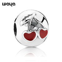 Wholesale NEW Silver Sweet Love Red Cherries Clip Beads European Charms Compatible with Snake Chain For DIY Bracelets X323